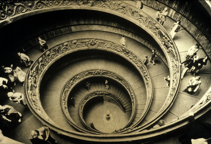 Vatican Museum Double Spiral Stairway. Photograph and orotone by Sally Larsen